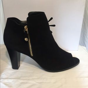 Black, open toed, ankle boots. New in box, SZ 11 M